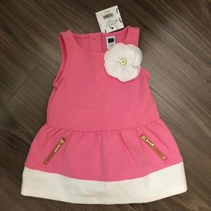 Cute Pink and White Zipper Pocket Dress, SZ 3-6M